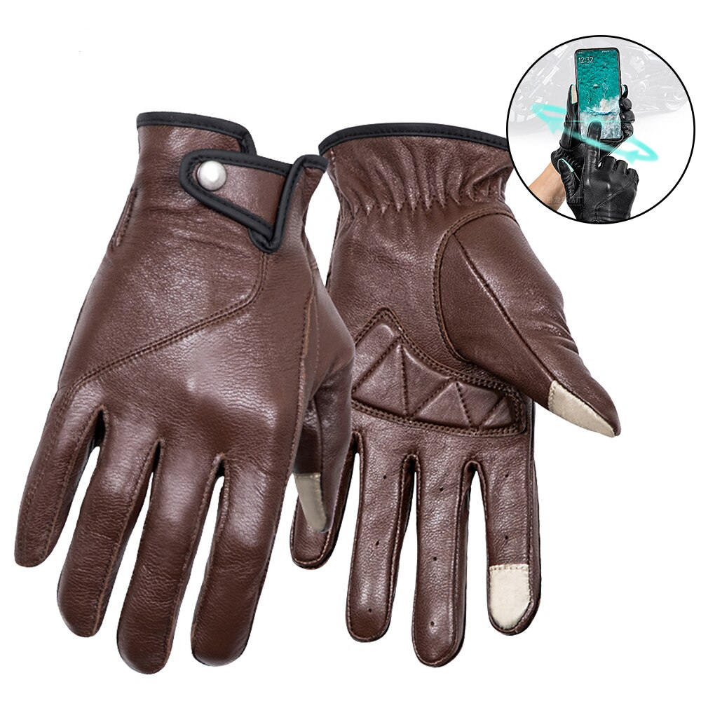 free shipping newest rs 390 full skin perforated carbon fiber glove motorcycle racing gloves full finger 3 size 3 color Motorcycle Leather Gloves Retro Touchscreen Protective Gear Racing Full Finger Racing Biker Riding Driving Motorbike Glove