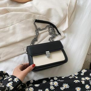 2020 New Women Shoulder Bag Fashion Casual Messenger Bag Lattice Chain Crossbody bag Pure Color PU Mobile Handbag
