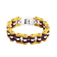 Pour hommes et femmes jaune et violet bracelet en acier inoxydable 16mm punk vélo Bracelet mode Bracelets Bracelets bijoux