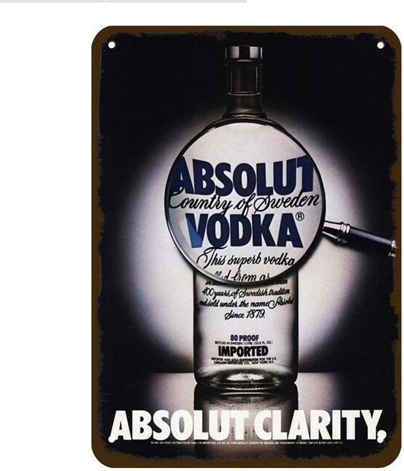 JUCHen-botella de Vodka 1983, totalmente claro, no real Letrero metálico de aluminio...