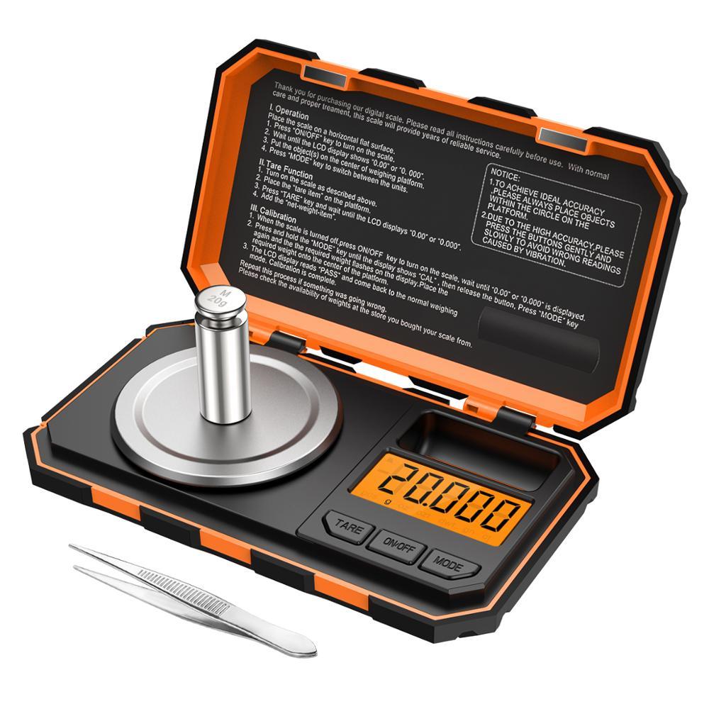 0.001g مقياس رقمي 20g مقياس صغير محمول دقيق التخرج المهنية مقياس الجيب ميليغرام معايرة الأوزان