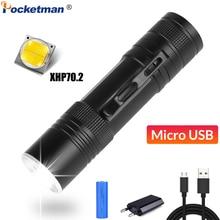 Powerful LED Flashlight XHP70.2 Torch USB Rechargeable Flashlight Zoomable LED Torch XHP70 XHP50 Flashlight Use 18650 Battery