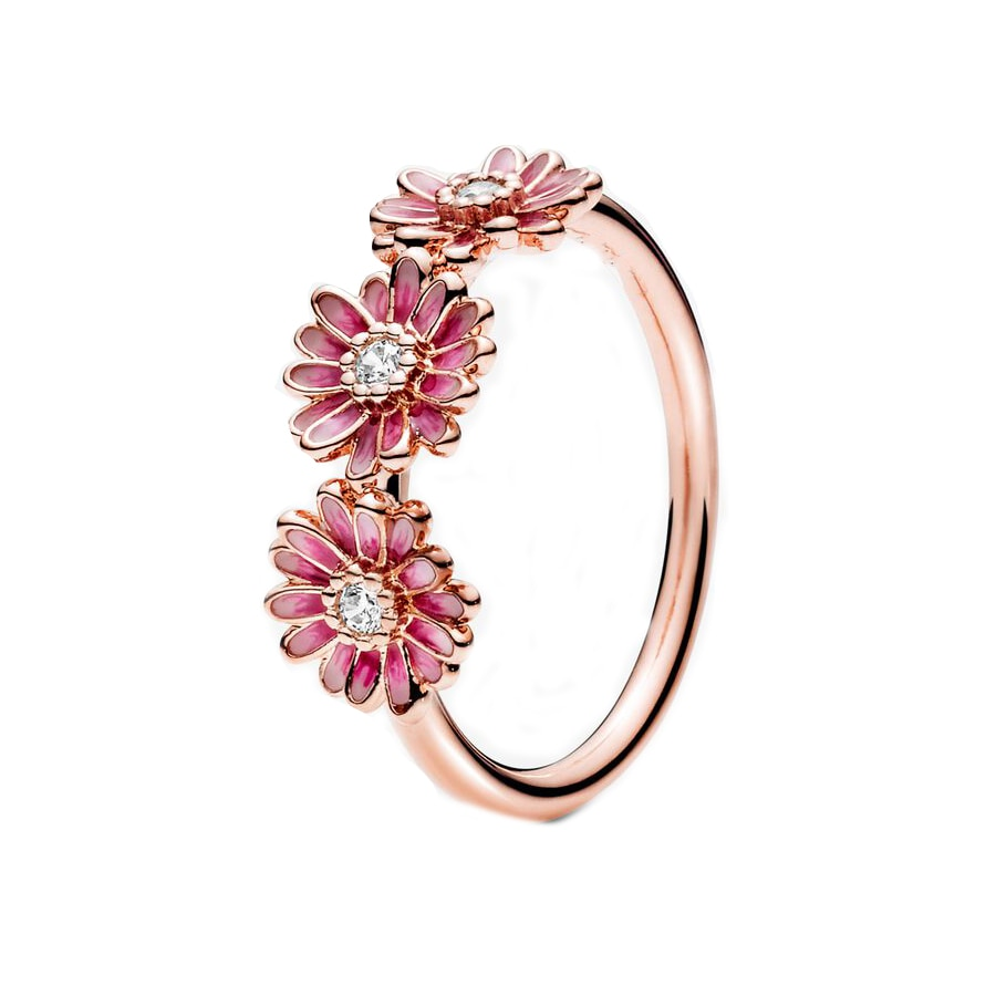 2020 novo 100% 925 prata esterlina rosa ouro rosa margarida flor trio anel para as mulheres moda festa anel de jóias para presente irmã
