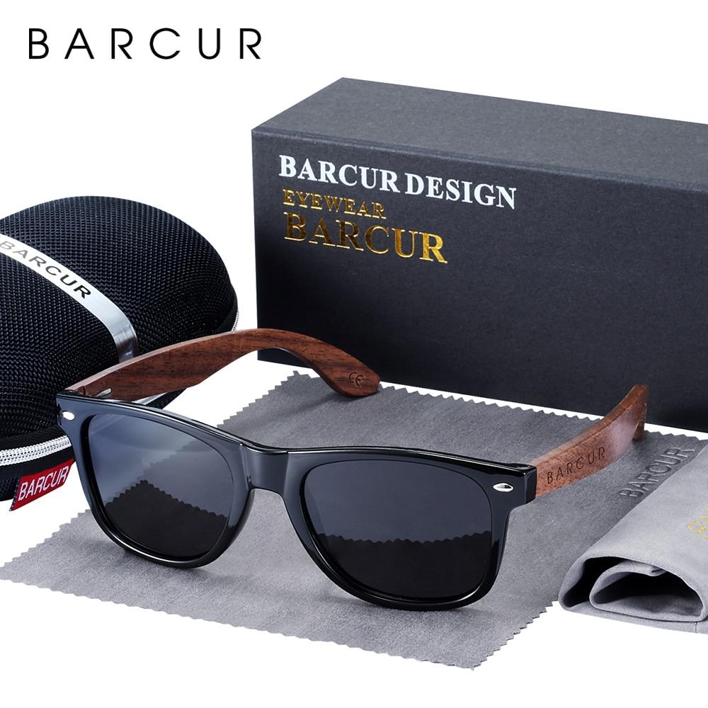 BARCUR High Quality Black Walnut Sunglasses Anti-Reflecti Men Women Mirror Sun Glasses Male UV400 Wo