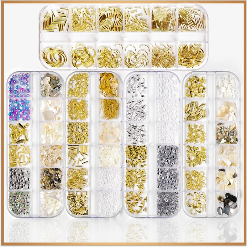Металлические полые смешанные заклепки для дизайна ногтей смешанные украшения ювелирные изделия DIY 3D украшения для ногтей аксессуары зерк...