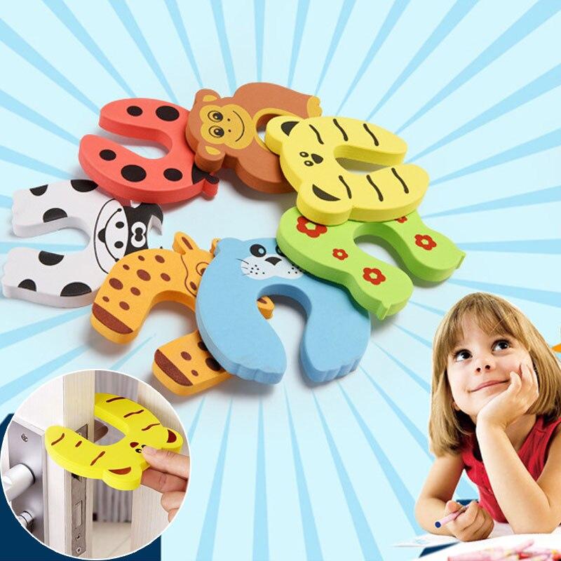 7 шт./лот защита от детей безопасность для детей милые животные Блокировка для дверей Блокировка Для детей Защита для пальцев новорожденных