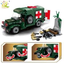 HUIQIBAO 262 pièces militaire sauvetage voiture ville sauvetage jouets blocs de construction Ambulance chiffres éducatifs briques jouets pour les enfants