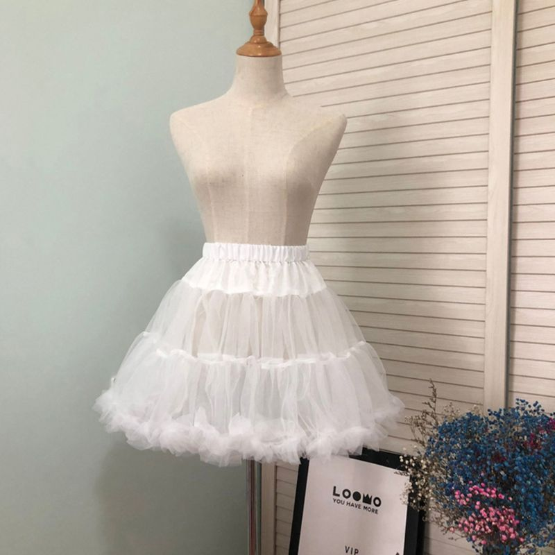 Women Girls Ruffled Short Petticoat Solid White Color Fluffy Bubble Tutu Skirt Puffy Half Slip Prom Crinoline Underskirt No Hoop