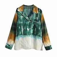 xnwmnz za 2021 women fashion tie dye blouses mujer long sleeve single breasted streetwear tops lapel blusas asymmetric hem shirt