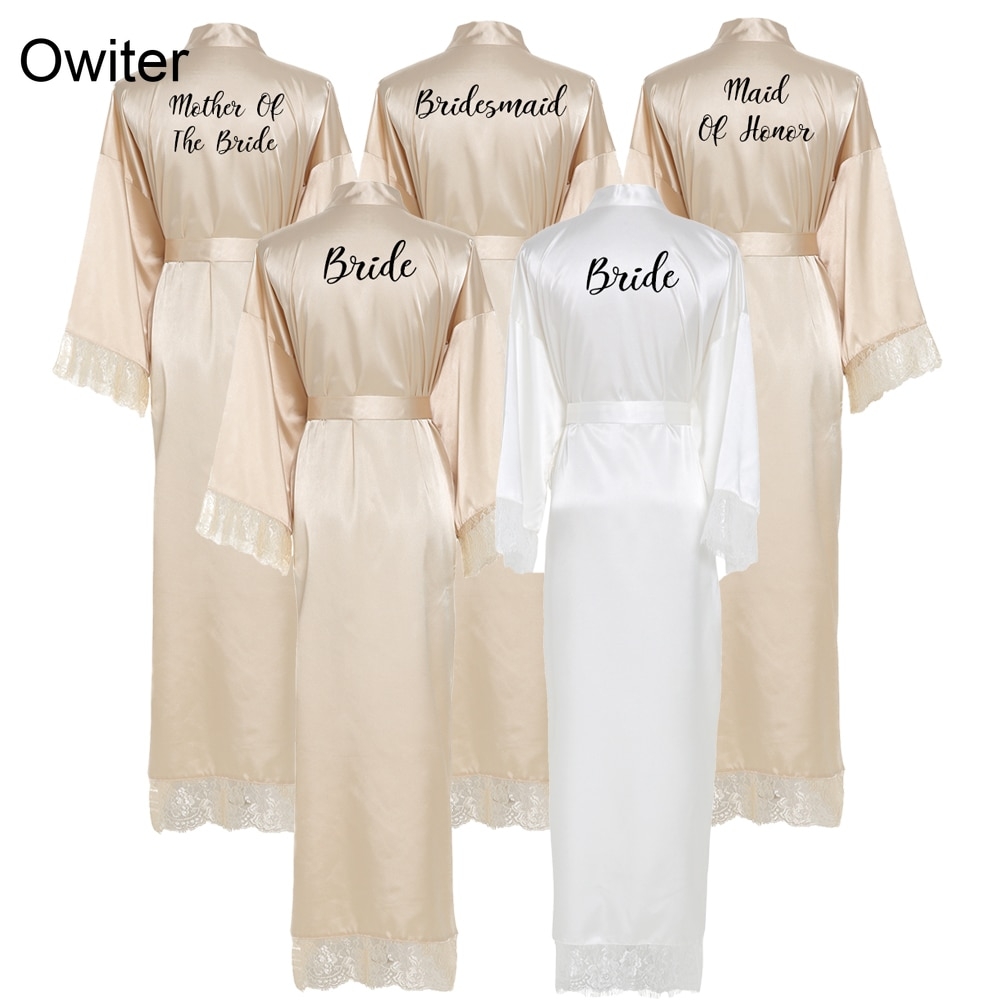 Owiter Bridesmaid champagne Large Plain Mother Bride Kimono Silk Satin Lace Night Dress Gown Wedding