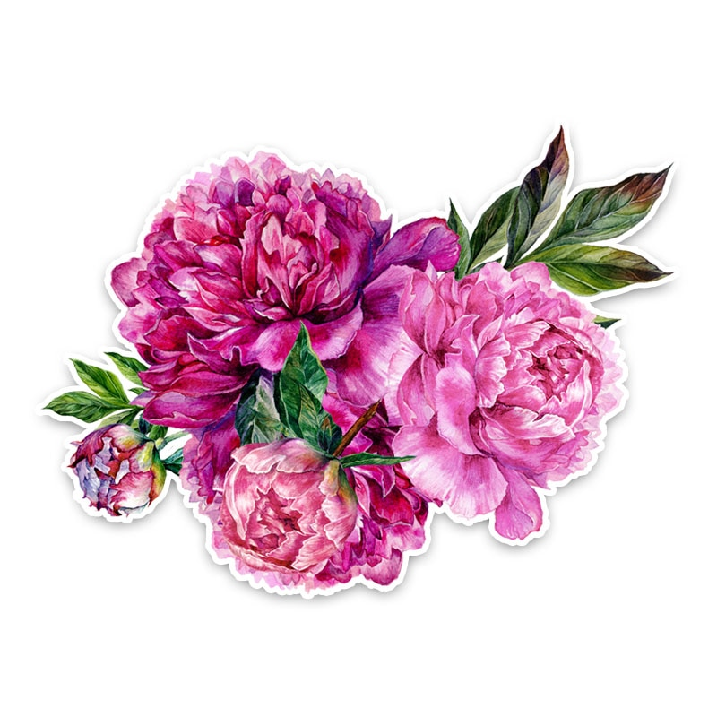 Beautiful Peony Flowers Modelling Decor Graphic Car Sticker Automobiles  Motorcycles Exterior Accessories PVC Decals