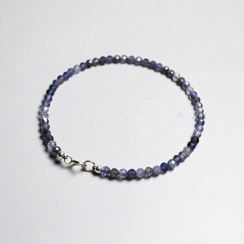iolite blue round  faceted  2mm/3mm/4mm  bracelet 19cm  wholesale beads nature FPPJ gemstone