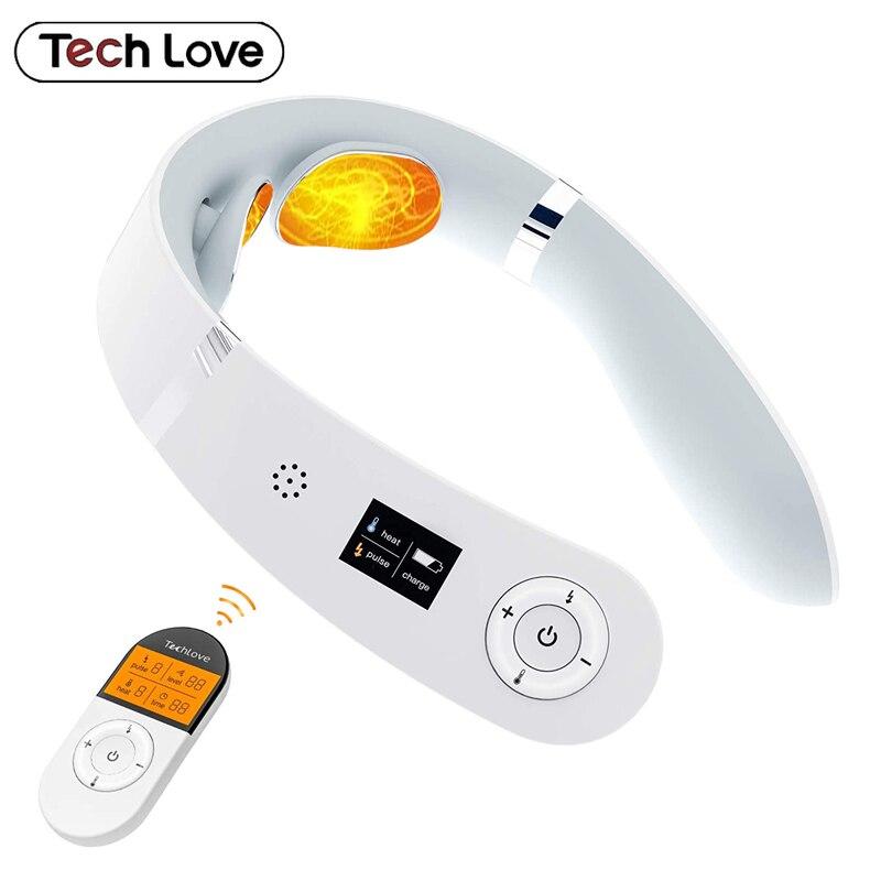 Электрический массажер для шеи Techlove, аппарат для релаксации и облегчения боли, 6 режимов управления питанием, голосовые подсказки, нагрев, з...