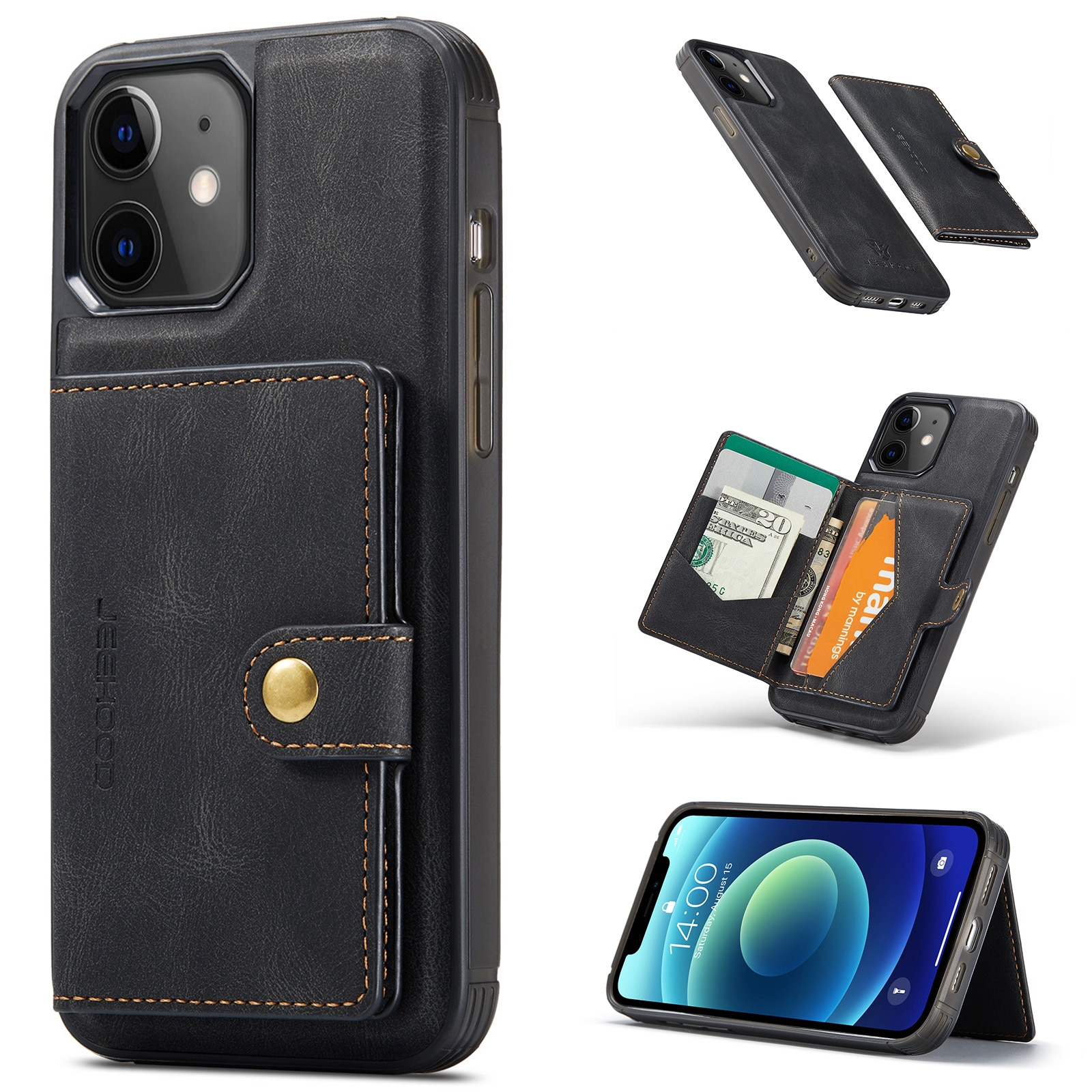 Magnetic Wallet Leather Phone Case For iPhone 12 Pro Max Card Holder Shockproof Cover For iPhone 11