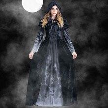 2019 schädel Gedruckt Lange Kleid Frauen Halloween Schwarz Blutsauger Cosplay Kostüm Vintage Hexe Langarm Maxi Kleid robe femme