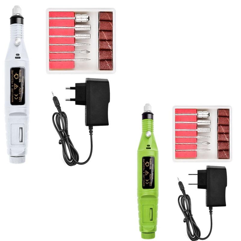 1set Mini Electric Nail Files Europen US USB Plug Drill 1.58*2cm Professional Manicure&Pedicure Nail File Kit For Nail Art Tools