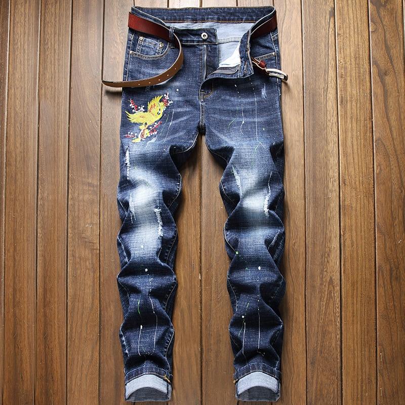 Мужские джинсы с вышивкой mew 2021, Стрейчевые брюки, мужские рваные джинсы, раздельные брюки с вышивкой, мужские брюки