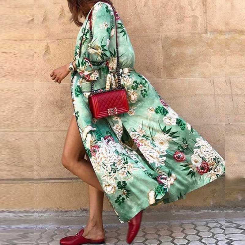 TEELYNN green floral print satin kimono kaftan women bikini cover up vintage long sleeve autumn robe vestidos boho beach blouses