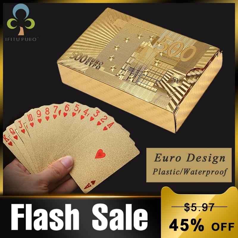 24K Gold Playing Cards Poker Game Deck Euro Design Gold Foil Poker Set Plastic Magic Card Waterproof Cards Magic GYH