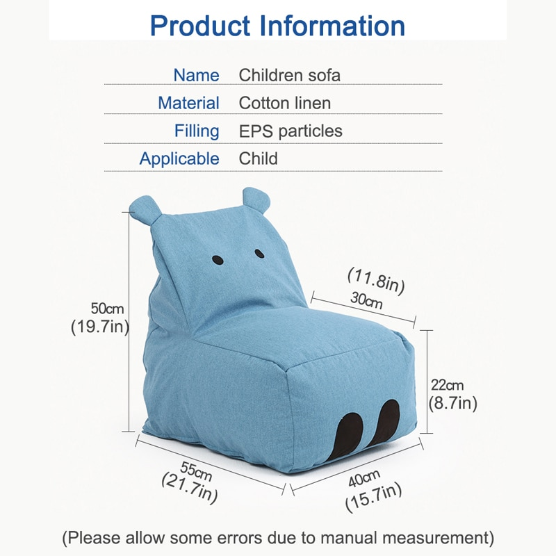 Babyinner Children's Lazy Sofa Cute Hippo Bean Bags Cartoon Tatami Chairs Sofa Kids Lounger Seat Pouf Puff Couch Living Room enlarge