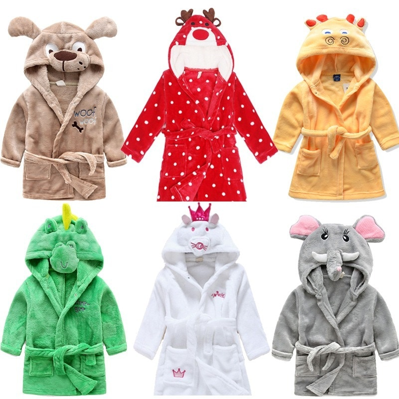 roupao de flanela para criancas robe 3d com estampa de animais roupa de caseira coral