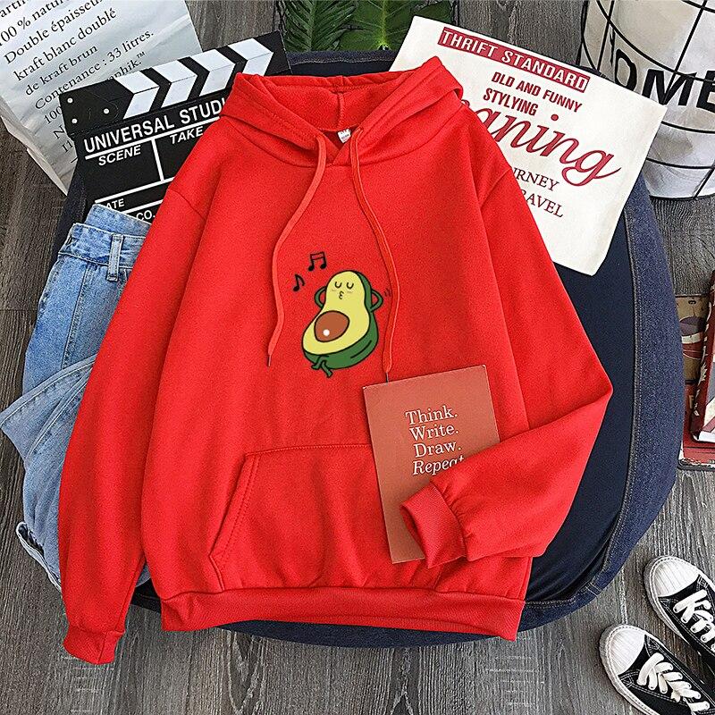 Cute cartoon avocado sweatshirt hoodies kawaii print top Fashion girl print hoodie Personality ladies hip hop apparel sweatshirt
