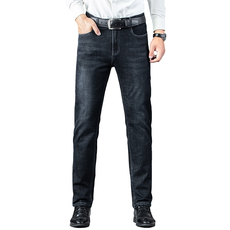 2021 autumn and winter men's classic jeans men's stretch slim jeans high-end business casual high-end straight jeans