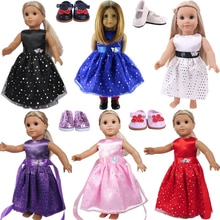 Butterfly Sequins Net Yarn Satin Doll Princess Dress For Our Generation Doll Clothes American 18 Inc