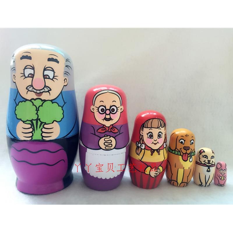 Набор из 6 шт милые деревянные животные ручная роспись русские Матрешки куклы бабушка матрешка Игрушки подарки украшения дома