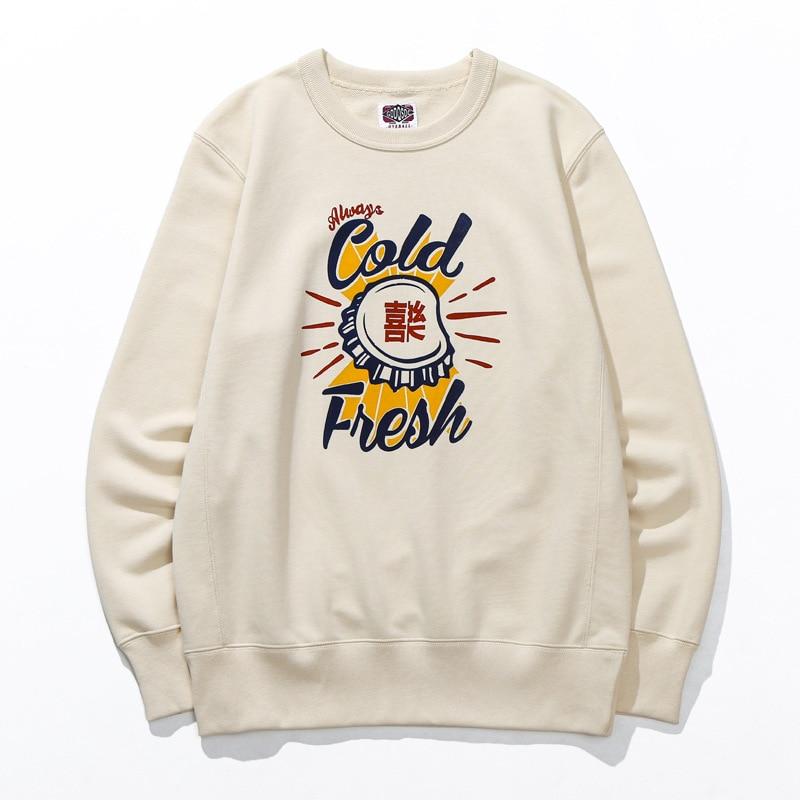 كنزات ريترو ستايل ياباني للرجال قميص قطني مميز مطبوع عليه حروف مطبوعة كم طويل عصري بلوفر علوي