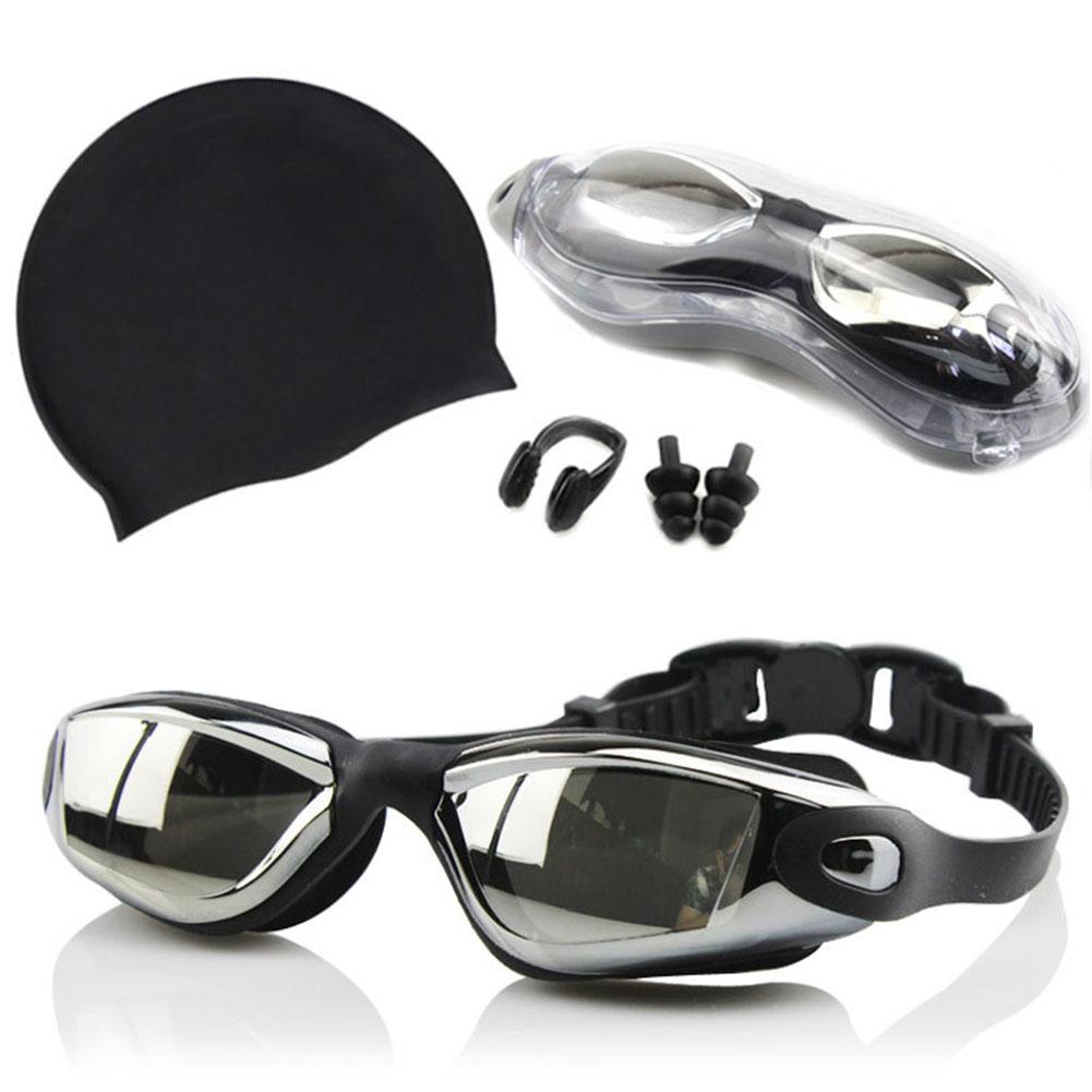 Профессиональный Анти-туман плавательные очки набор силиконовых бассейны Кепки с Заглушки для ушей, зажим для носа Водонепроницаемый плав...
