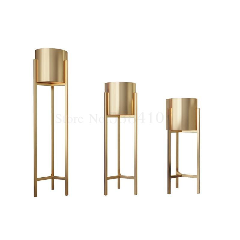 Floor-standing Nordic Golden Flower Shelf Indoor Light Luxury Wrought Iron Flower Pot Holder Gold Home Living Room Decorative