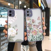 Чехлы для телефонов с цветами, фиолетовыми листьями, пионами, маргаритками в стиле ретро, матовые прозрачные чехлы для iPhone 7 8 11 12 s mini pro X XS XR MAX Plus, чехол