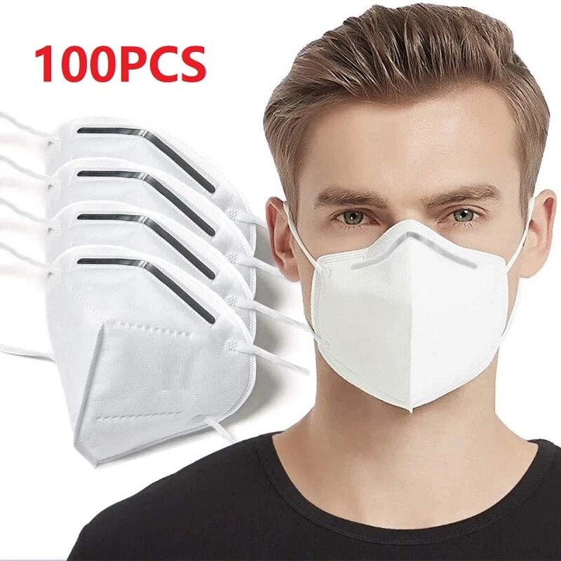 100pcs Adult Masks 5 Layers Fine Air Filter Dust Face Mask Personal Protect Home Health Care mascari