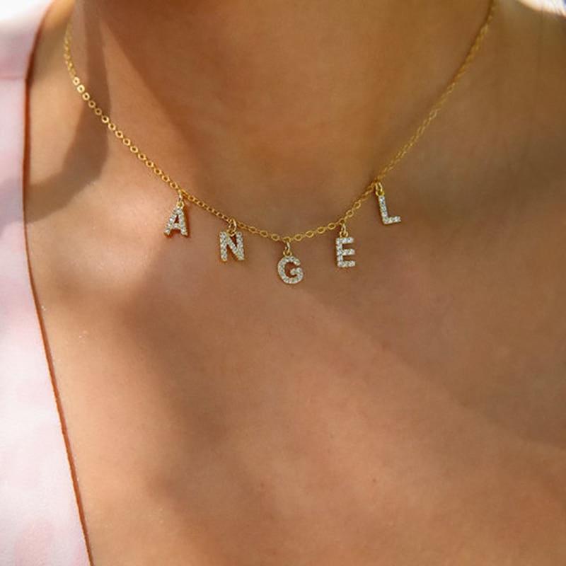 DODOAI Custom Diamond Necklace, Pave Crystal Letter Necklace,Personalized Name Necklace ,diamond letter pendant necklace Jewelry
