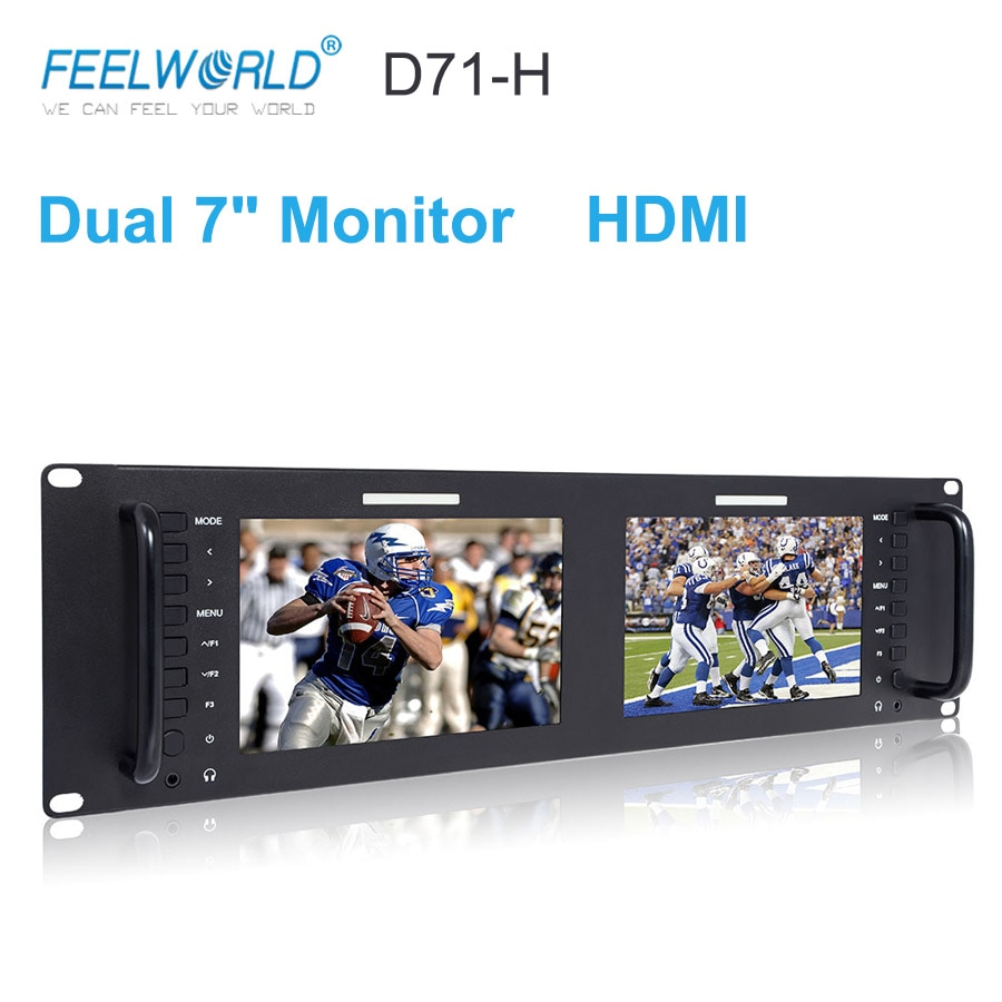 Feelworld D71-H المزدوج 7 بوصة 3RU IPS 1280x800 HDMI LCD الرف جبل مراقب المحمولة 2 شاشات رصد البث