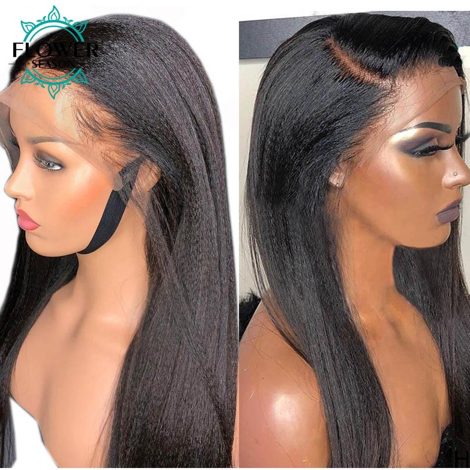 Yaki Straight Scalp Base Wigs 5x5 PU Fake Scalp Lace Front Wig Yaki Human Hair Wigs Peruvian Remy 150% for women FlowerSeason
