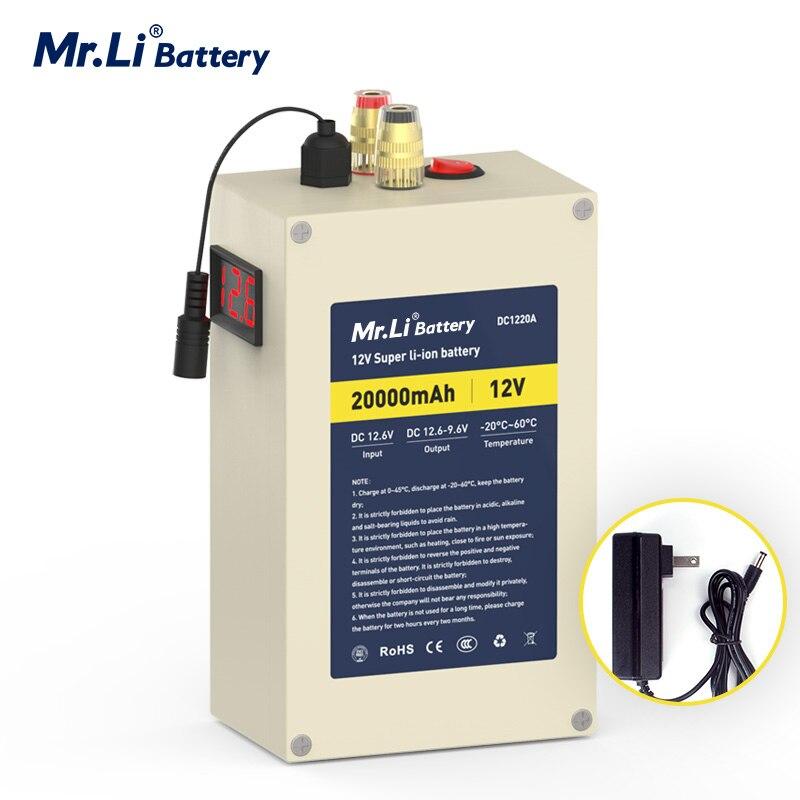 Mr.Li 12 فولت 20 أمبير بطارية ليثيوم قابلة للشحن حزمة مع بناء في BMS للخارجية امدادات الطاقة الأجهزة المنزلية قارب الطاقة سونار