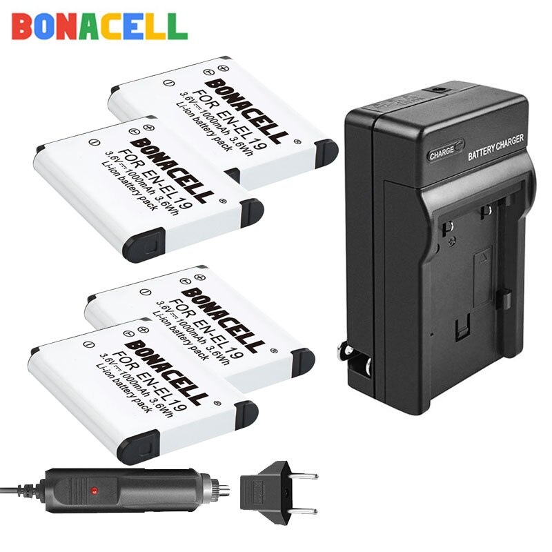 Bonacell ENEL19 EN-EL19 for Nikon Battery + Charger for Nikon Coolpix S32 S33 S100 S2500 S2750 S3100 S3200 S3300 S3400 S3500