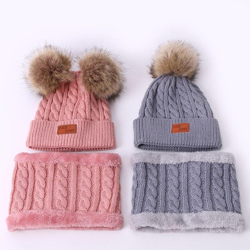 Детский комплект из шапки и шарфа с помпоном из искусственного меха, зимние теплые детские однотонные шапочка с помпоном, набор из шапки и ш...