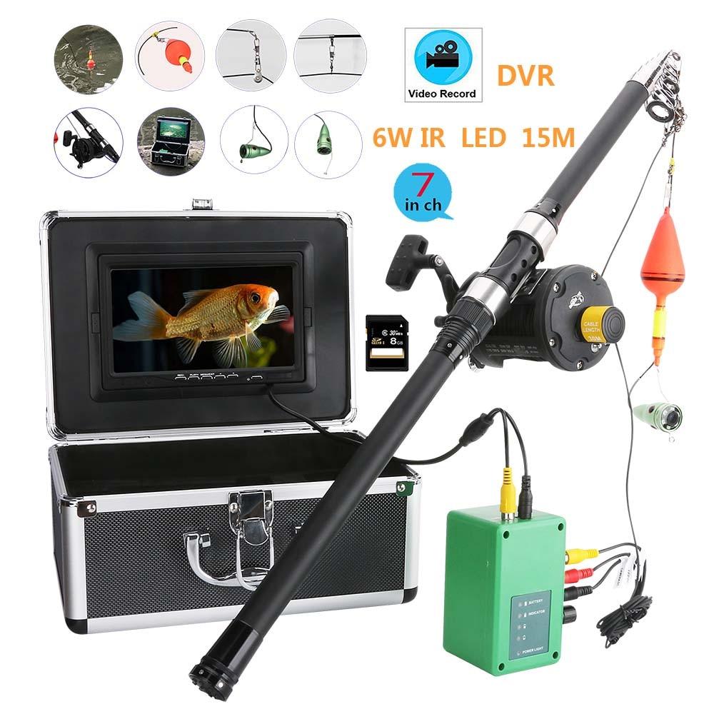 "Rueda de mar 7 ""pulgadas DVR grabador 1000tvl equipo de videocámara de pesca submarina 6W LED lámpara infrarroja Video buscador de peces"