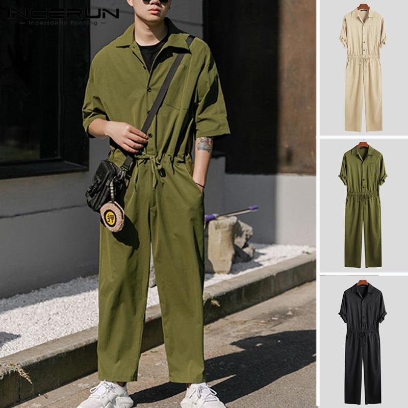 Mono a la moda para hombre, de manga media, con peleles de botón, estilo callejero, informal, para hombre 2020
