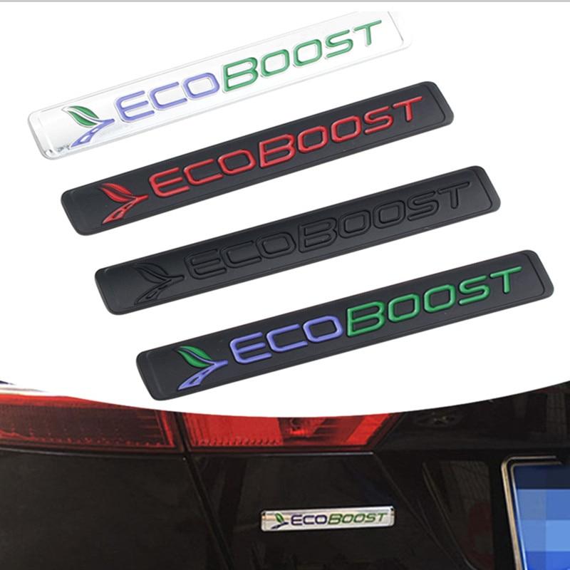 Metal ecoboost eco boost logotipo emblema adesivo para ford focus fiesta kuga gama mendeo f150 kuga tronco adesivos