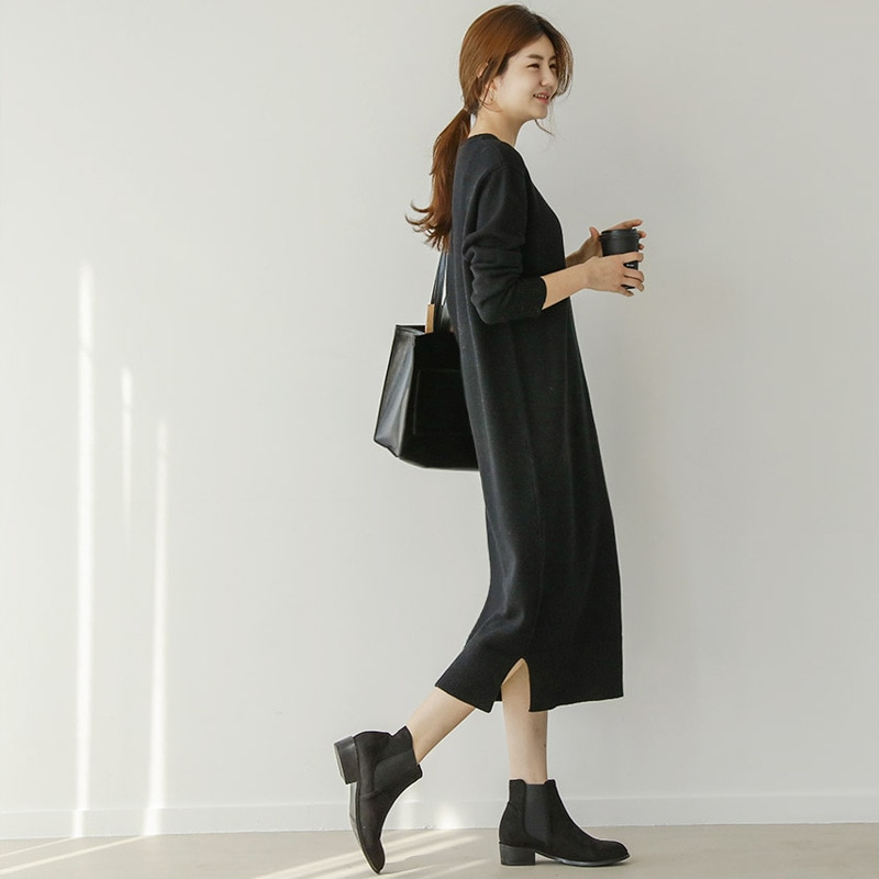New Style of Female Autumn and Winter of Long Style Sweater is Loose Lengthen Add Thick Above Knee Knitting Big Size Dress Wool enlarge