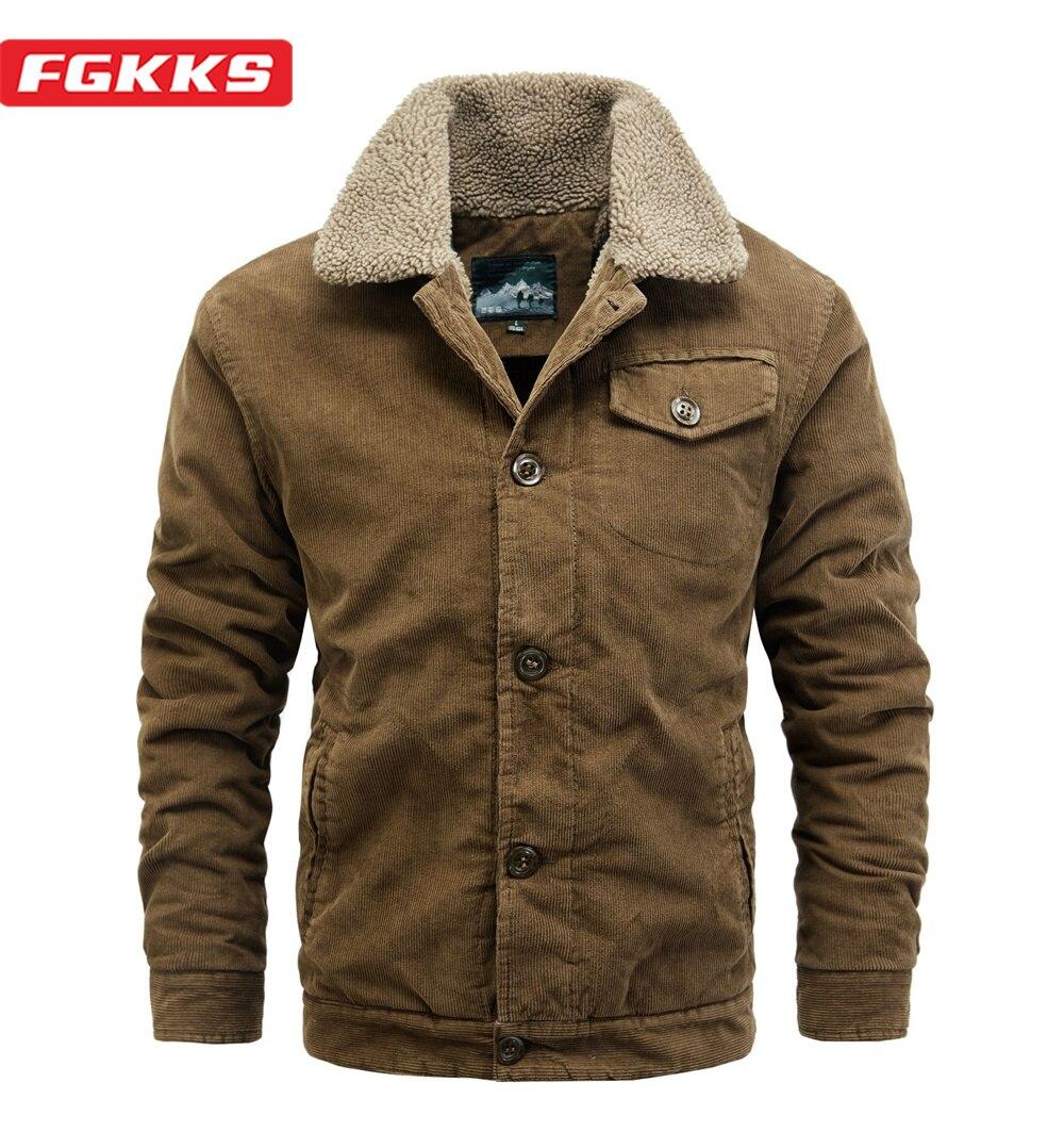 Мужская зимняя куртка FGKKS, теплая однотонная куртка из плотного флиса, Повседневная модная мотоциклетная кожаная куртка в стиле милитари