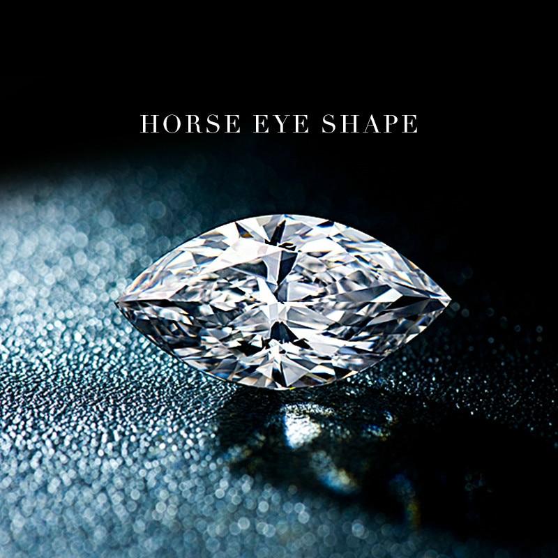 American special horse eye shape olive shape morsonite naked stone diamond ring female 1 carat inlaid with naked LOOSE stone