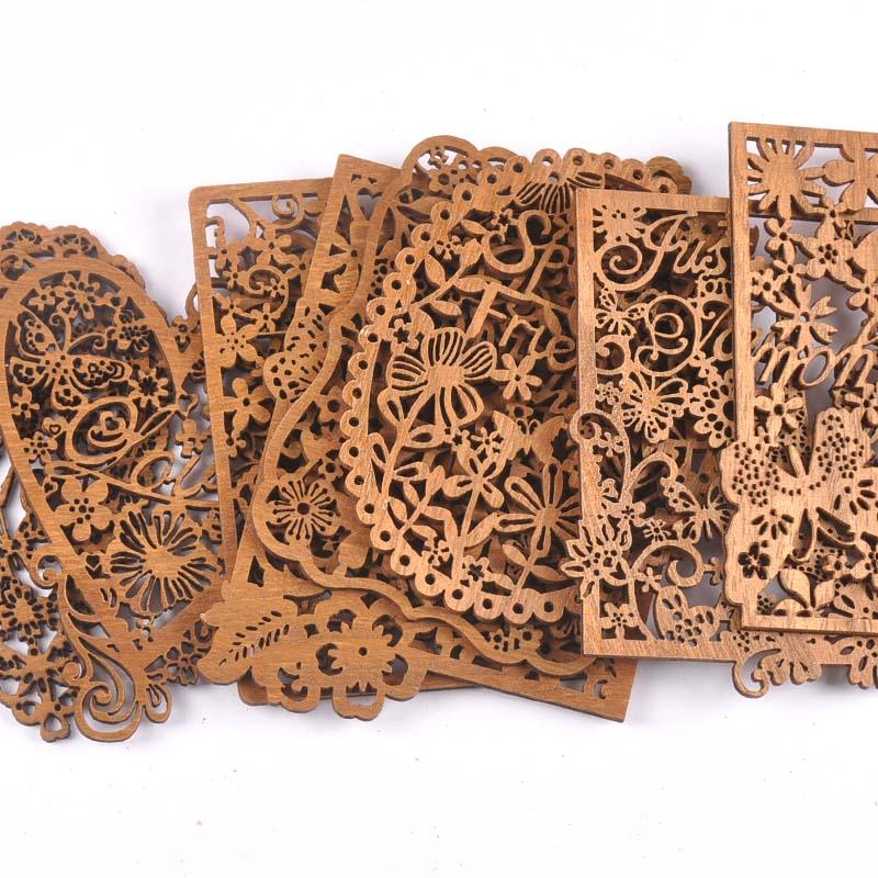 Enfeites de madeira oco para decoração, artesanato em madeira, corações para scrapbooking, decoração de casa, faça você mesmo, 2 peças m2554