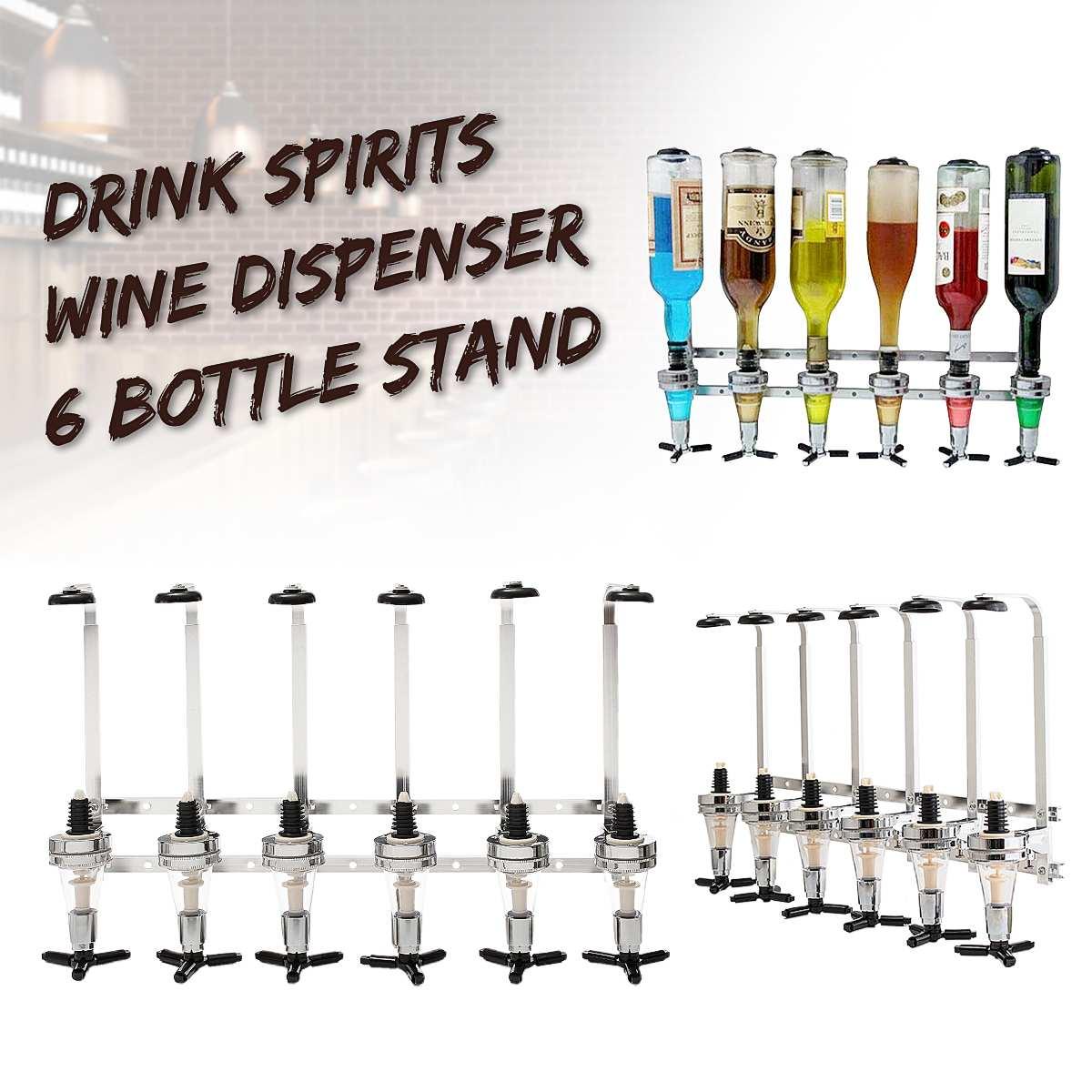 Soporte de pared licor de vino bebidas dispensador de Bar titular de vino de 6 botellas disparos soporte máquina Bar herramienta para cerveza Soda montado en la pared