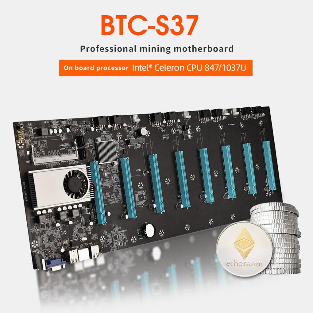 BTC-S37 مينر اللوحة وحدة المعالجة المركزية مجموعة 8 فيديو فتحة للبطاقات DDR3 اللوحة مع USB 2.0 SATA 3.0 منافذ قطع غيار للكمبيوتر