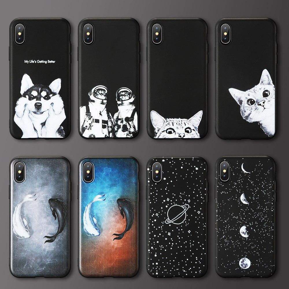 Космический Чехол для телефона Xiaomi Redmi Note 6 7 Pro 7 6 5 4 4X мягкий чехол из ТПУ с изображением кота собаки для Redmi 6 6A 5 Plus 5 5A 4X S2 Y2 Индия чехол